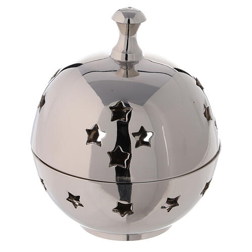 Spherical incense burner in nickel-plated brass star shaped holes 3 in 1