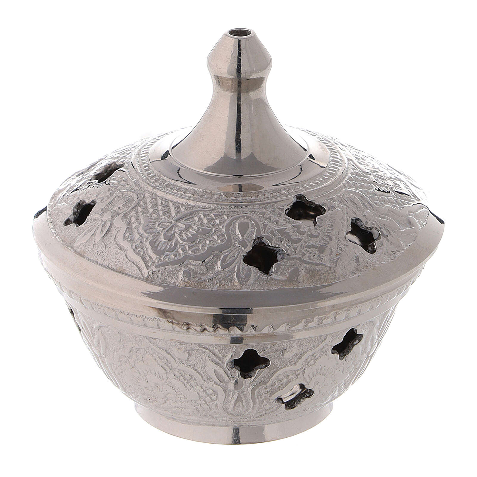 Engraved incense burner in silver-plated brass diameter 2 3/4 in 3