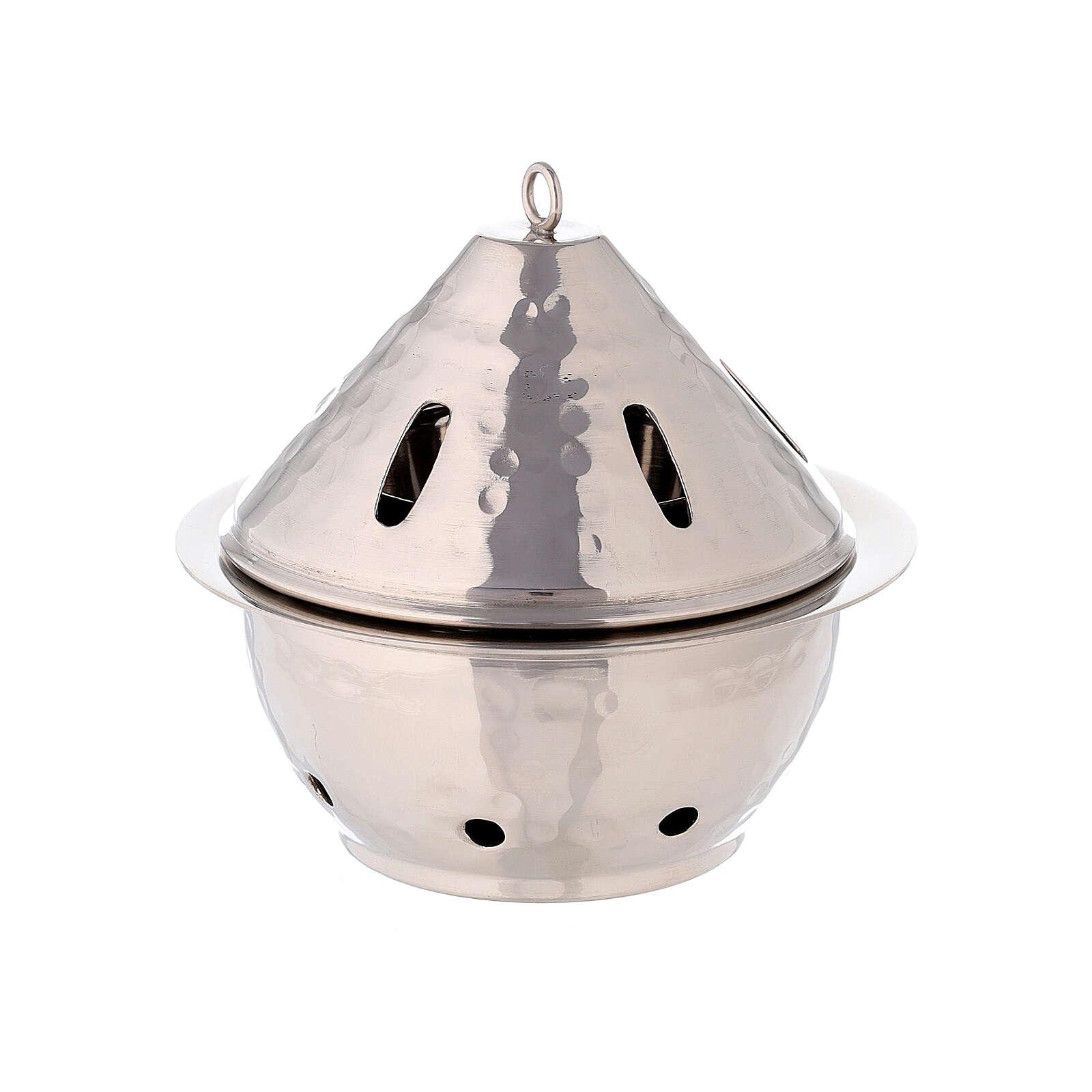 Brûle-encens goutte laiton nickelé martelé h 13 cm 3