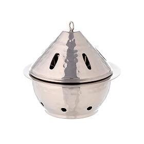 Brûle-encens goutte laiton nickelé martelé h 13 cm s1