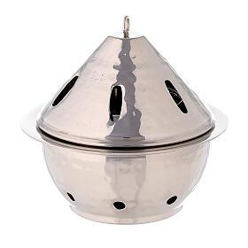 Brûle-encens goutte laiton nickelé martelé h 13 cm s3