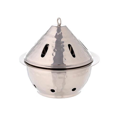 Brûle-encens goutte laiton nickelé martelé h 13 cm 1