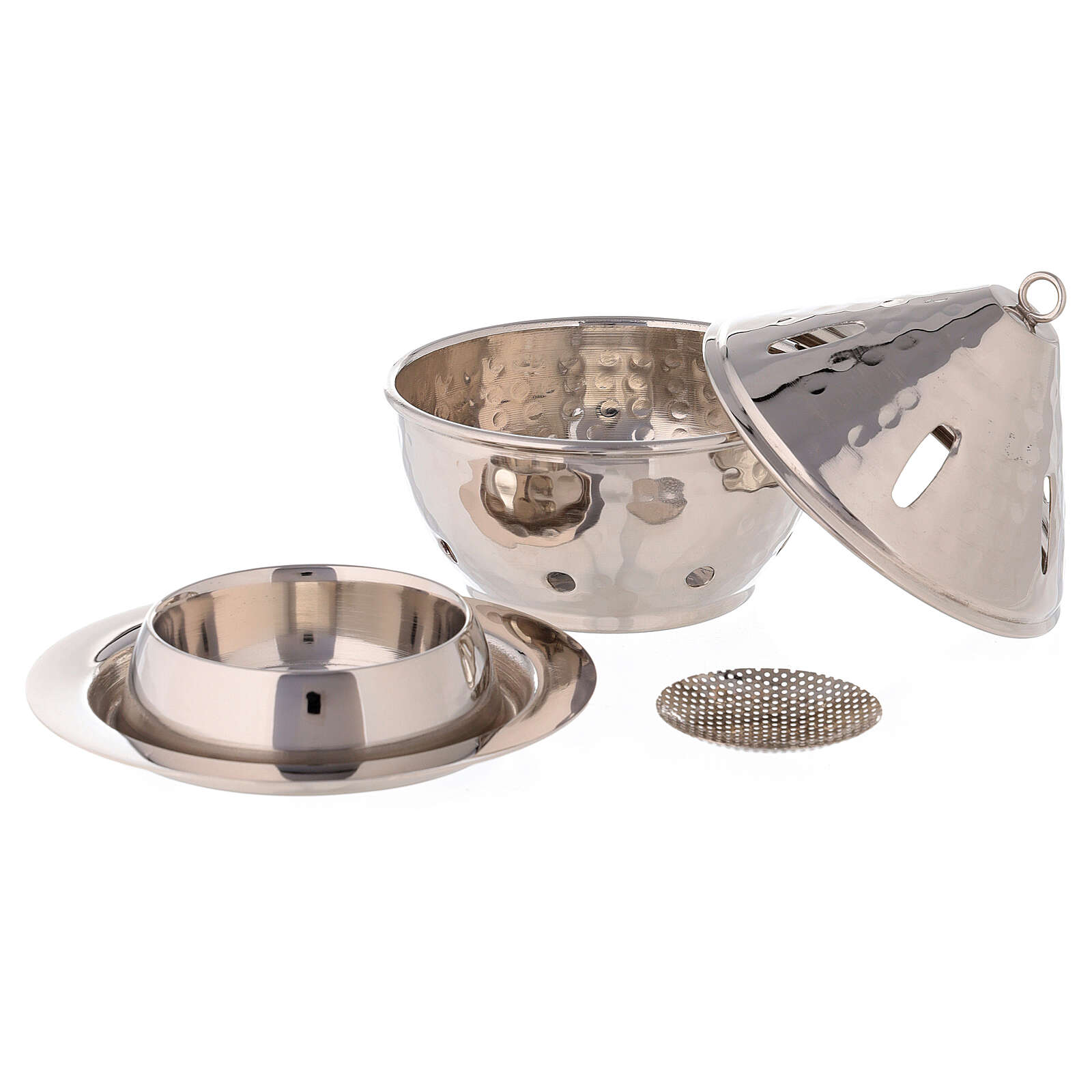 Drop shaped incense burner in hammered nickel-plated brass h 5 in 3