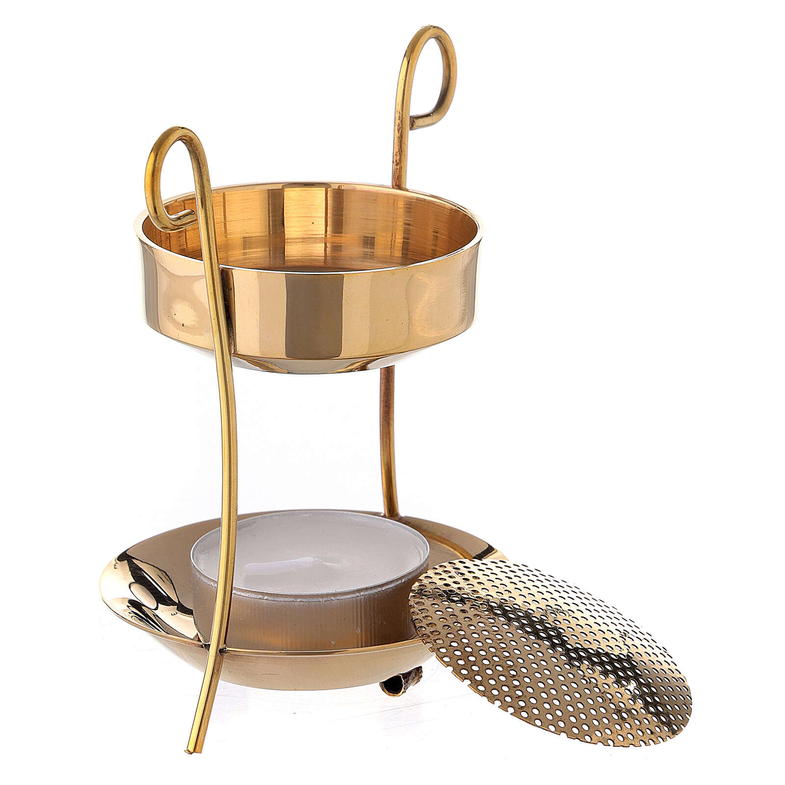 Candle incense burner gold plated brass net 3 1/2 in 3