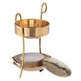 Candle incense burner gold plated brass net 3 1/2 in s2