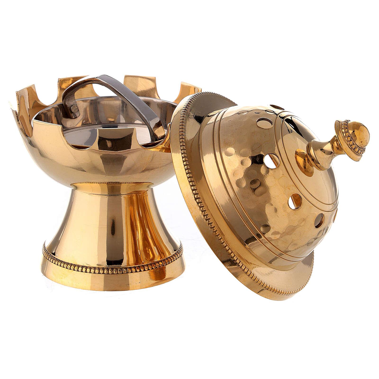 Bruciaincenso ottone dorato decori martellati h 13 cm 3