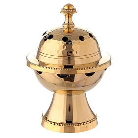 Bruciaincenso ottone dorato decori martellati h 13 cm s1