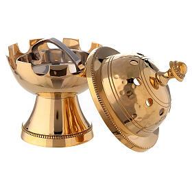 Bruciaincenso ottone dorato decori martellati h 13 cm s2