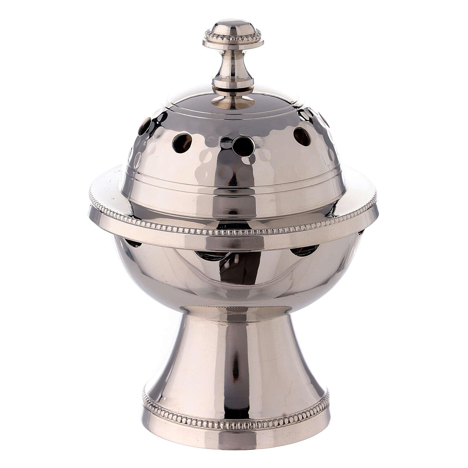 Pebetero esfera latón niquelado martillado 13 cm 3