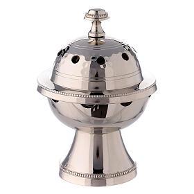 Pebetero esfera latón niquelado martillado 13 cm s1