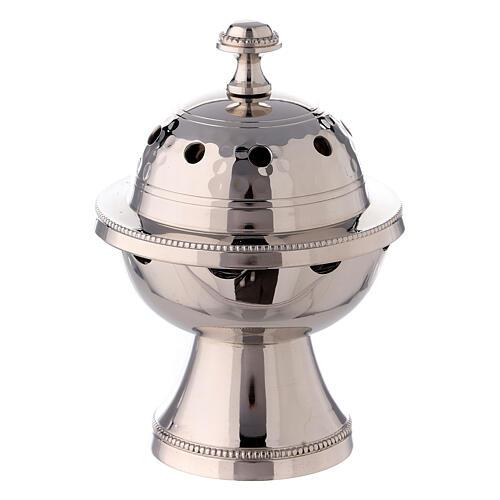 Bruciaincenso sfera ottone nichelato martellature 13 cm 1