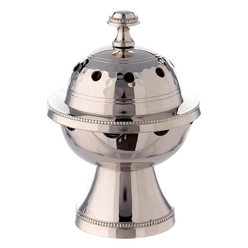 Spherical incense burner in nickel-plated hammered brass 5 in 1