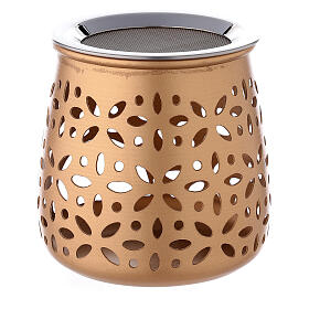 Pebetero perforado vela aluminio dorado 11 cm s3