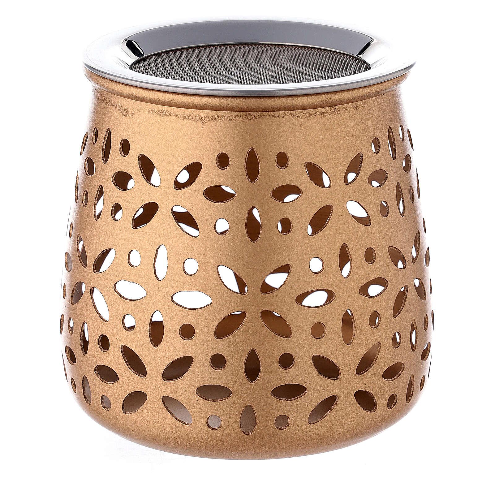 Brûle-encens ajouré aluminium doré 11 cm 3