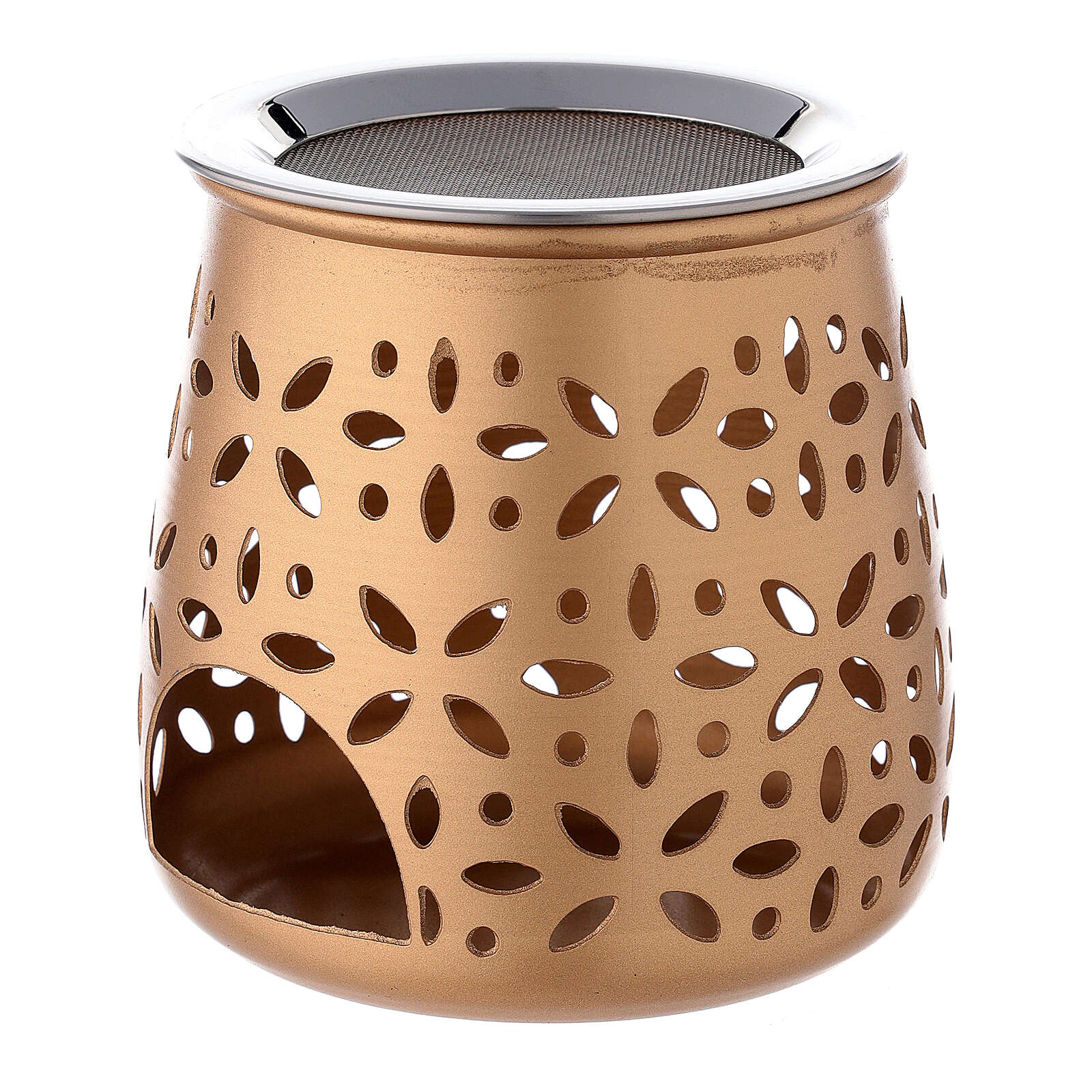 Bruciaincenso traforato candelina alluminio dorato 11 cm 3