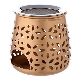 Bruciaincenso traforato candelina alluminio dorato 11 cm s2