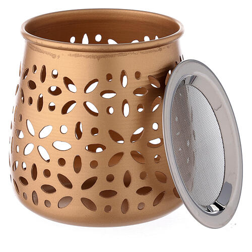 Bruciaincenso traforato candelina alluminio dorato 11 cm 4