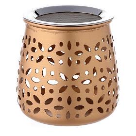 Queimador incenso perfurado velinha alumínio dourado 11 cm s3