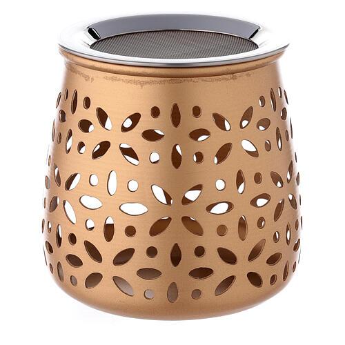 Queimador incenso perfurado velinha alumínio dourado 11 cm 3