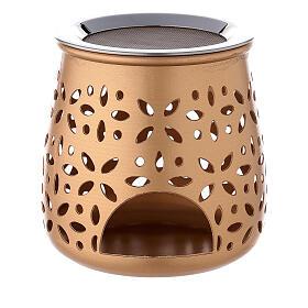 Perforated incense burner in golden aluminium 4 1/4 in s1