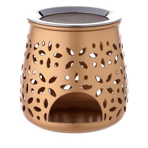 Perforated incense burner in golden aluminium 4 1/4 in 1