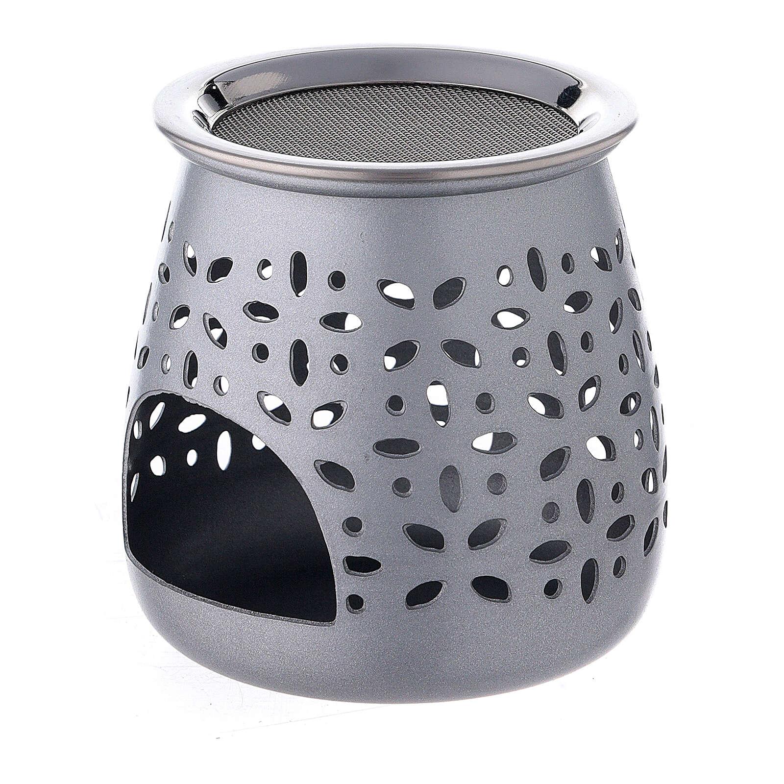 Incense burner in satin aluminum, 8 cm 3