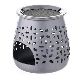 Incense burner in satin aluminum, 8 cm s2