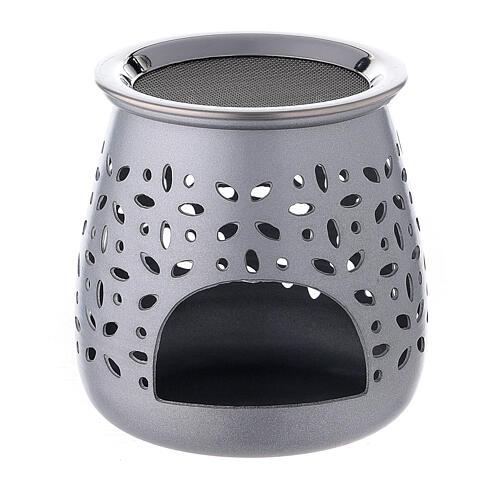 Incense burner in satin aluminum, 8 cm 1