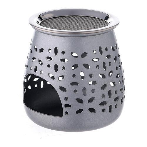 Incense burner in satin aluminum, 8 cm 2