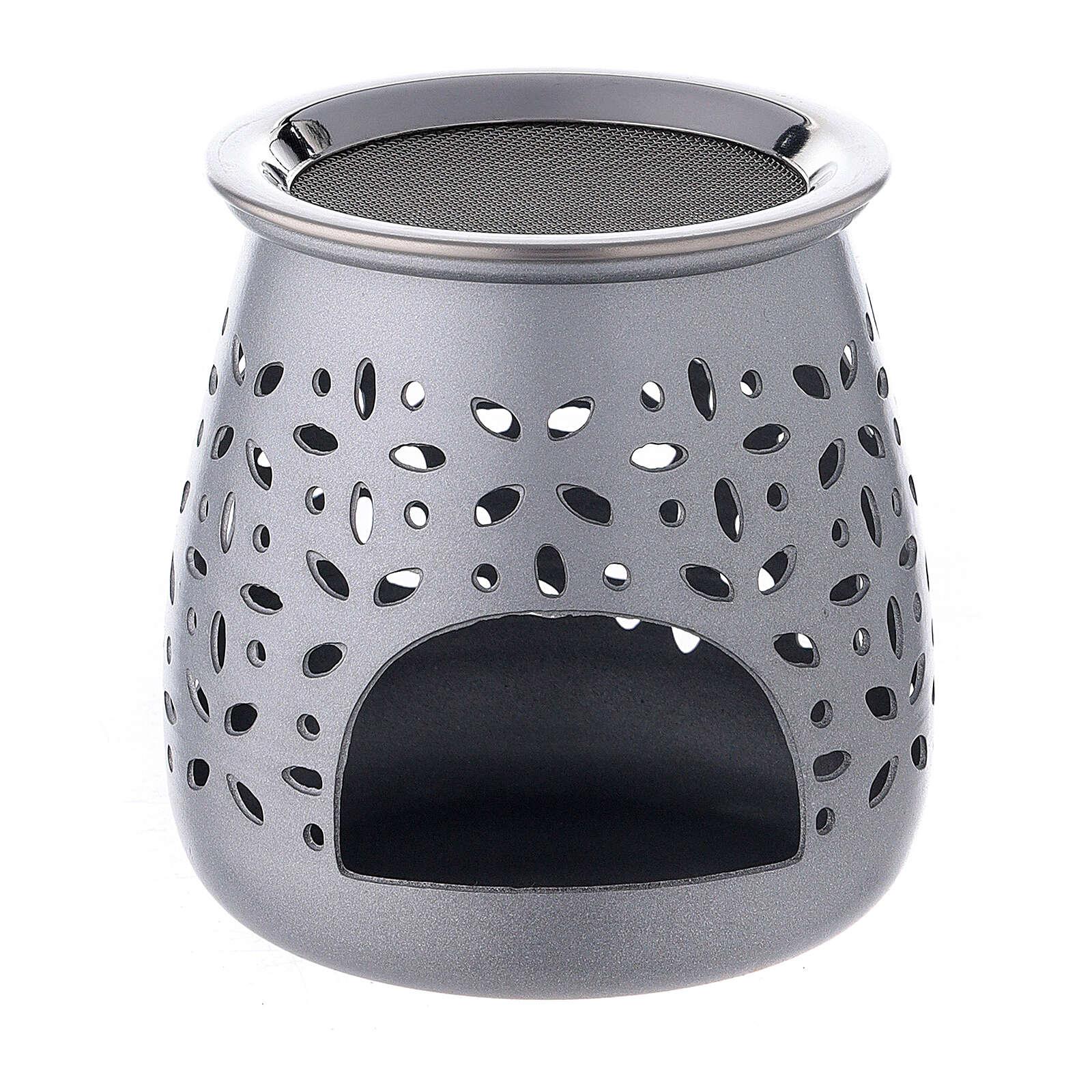 Queimador incenso alumínio acetinado 8 cm orifícios 3