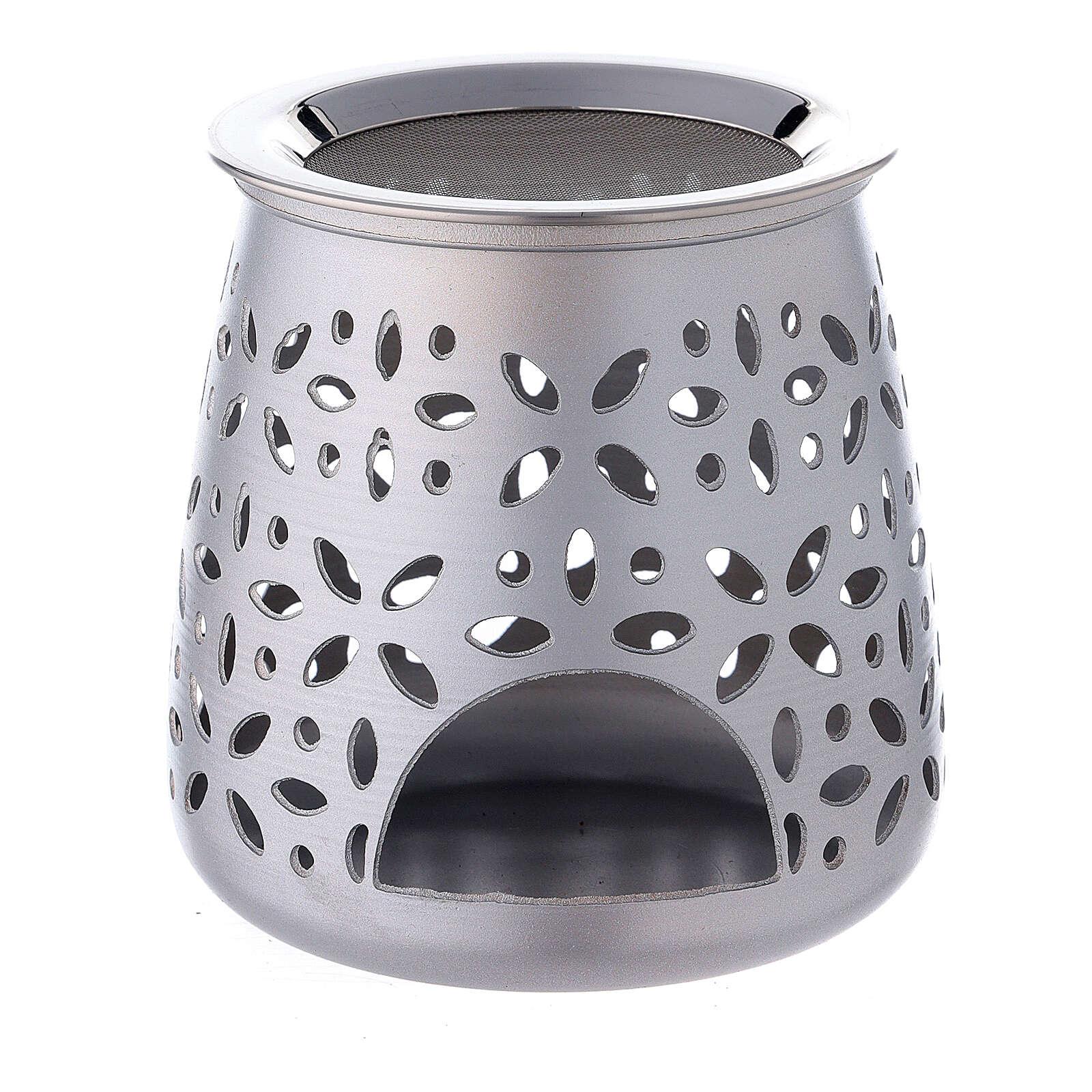 Perforated incense burner in satin aluminium 11 cm 3