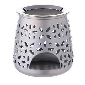 Perforated incense burner in satin aluminium 11 cm s1