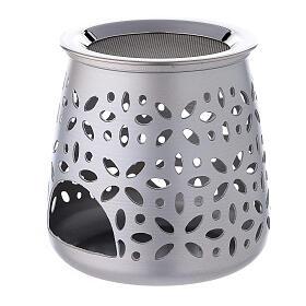 Perforated incense burner in satin aluminium 11 cm s2