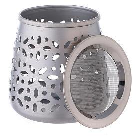 Perforated incense burner in satin aluminium 11 cm s3