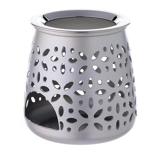 Perforated incense burner in satin aluminium 11 cm 2