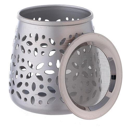 Bruciaincenso traforato alluminio satinato 11 cm 3