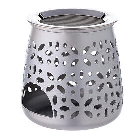 Cut-out aluminium incense burner with satin finish 4 1/4 in s2