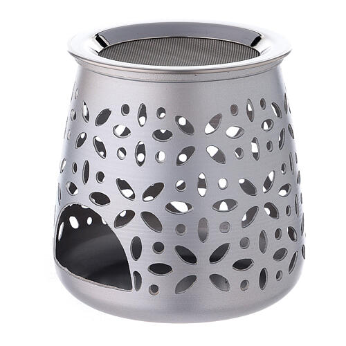 Cut-out aluminium incense burner with satin finish 4 1/4 in 2