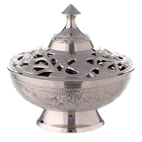 Oriental incense burner with cut-out flowers 4 3/4 in 1