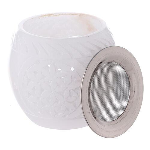 Bruciaincenso pietra ollare bianca ovale stile orientale 7 cm 3