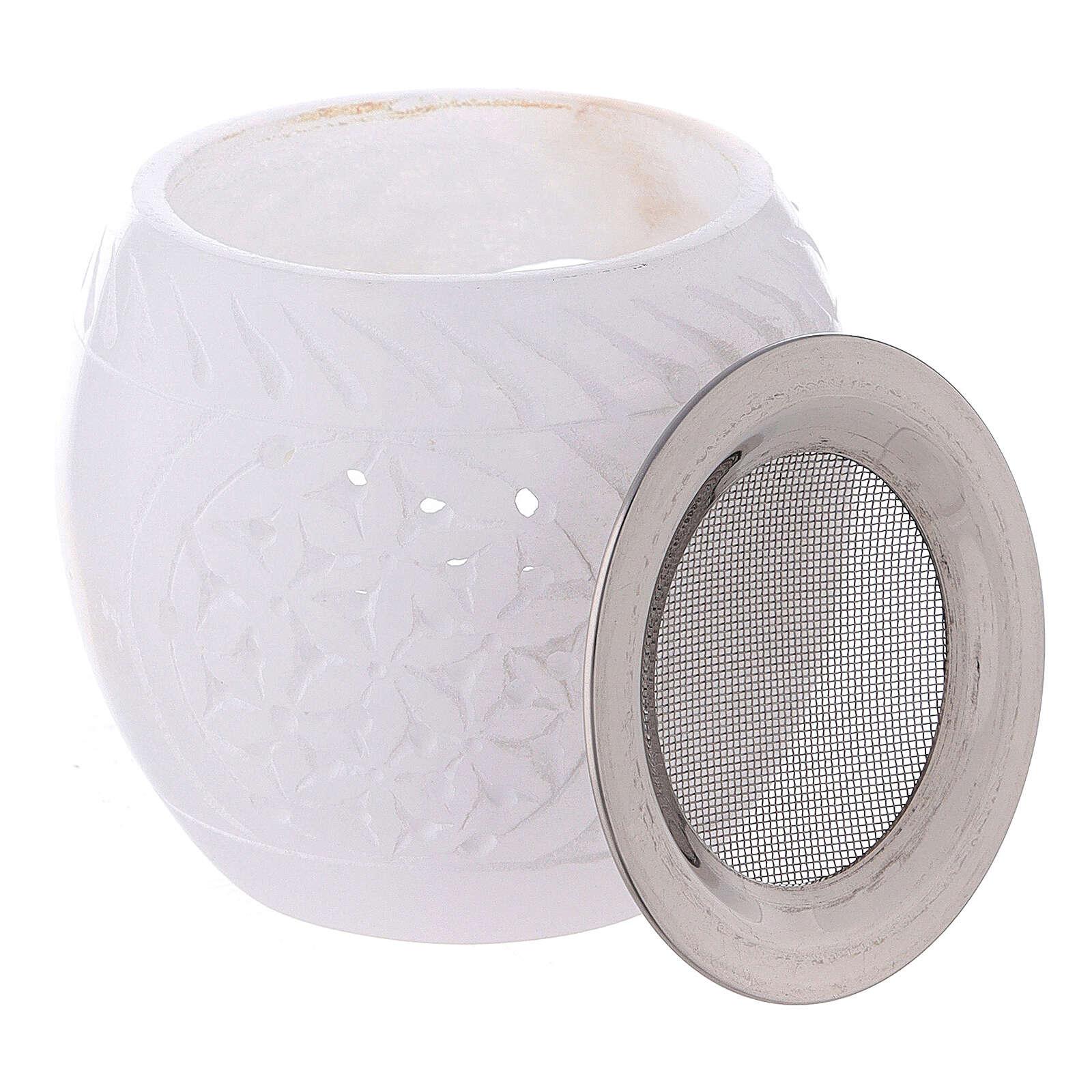 Oriental oval incense burner in white soapstone 3 in 3