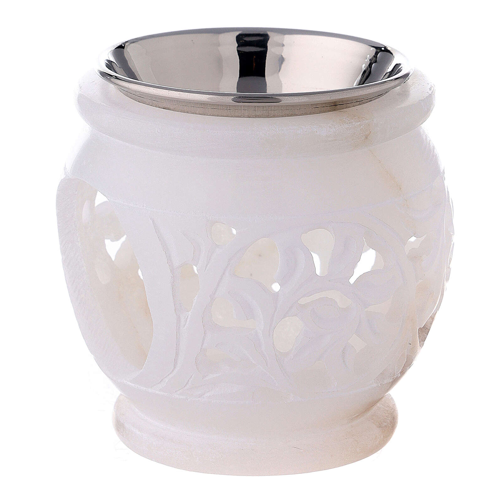 Spherical incense burner with engraved leaves white soapstone 3 in 3
