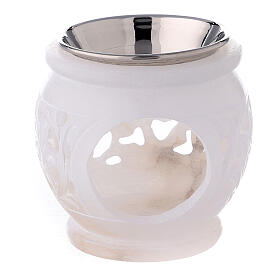 Spherical incense burner with engraved leaves white soapstone 3 in s1