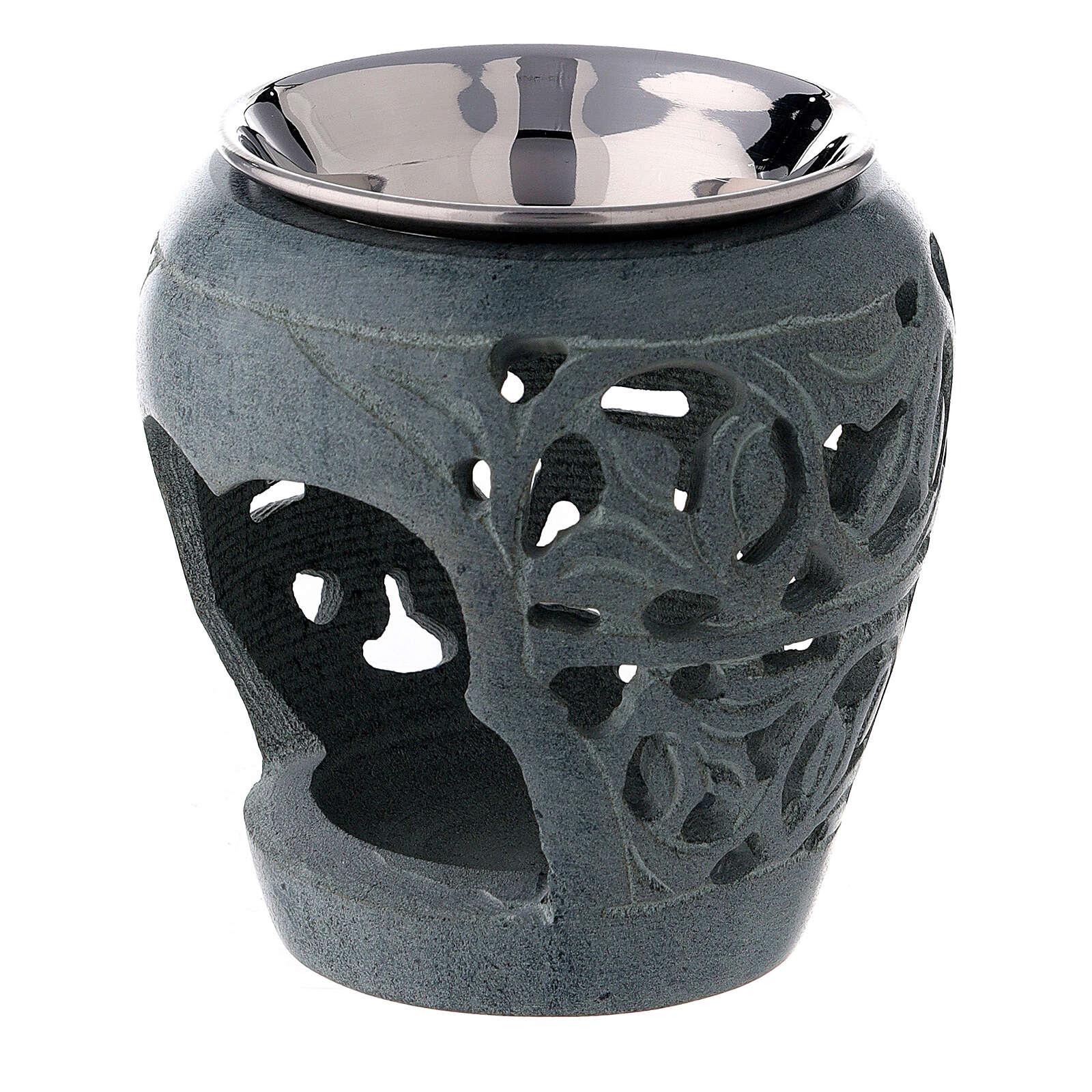 Pebetero piedra ollar oscura 8 cm perforado 3