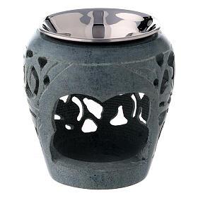 Bruciaincenso pietra ollare scura 8 cm traforature s1