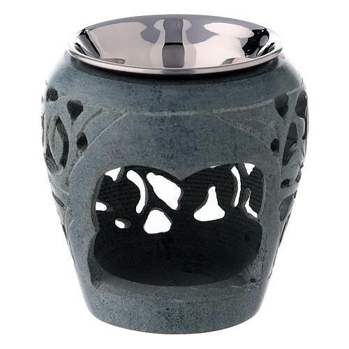 Bruciaincenso pietra ollare scura 8 cm traforature 1