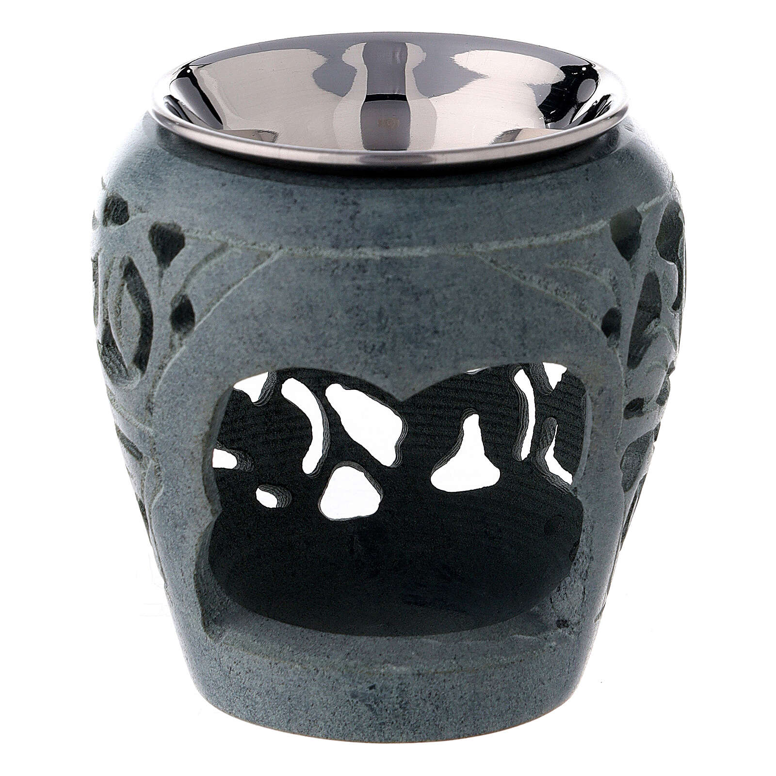 Dark soapstone incense burner with cut-outs 3 in 3