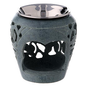 Dark soapstone incense burner with cut-outs 3 in s1