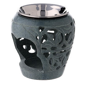 Dark soapstone incense burner with cut-outs 3 in s2
