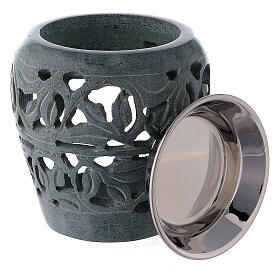 Dark soapstone incense burner with cut-outs 3 in s3